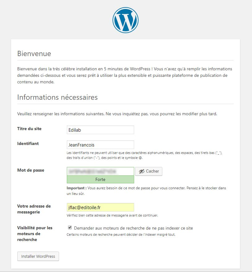 formulaire d'installation du blog WordPress