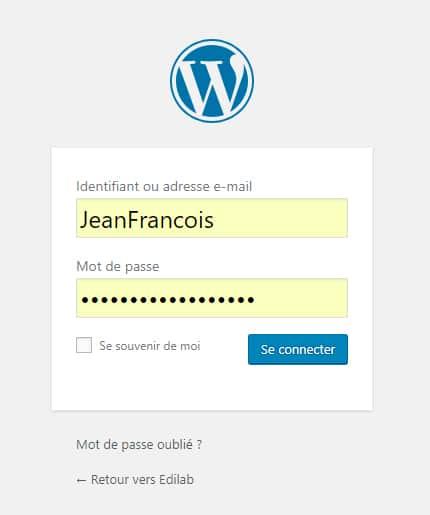 formulaire de connexion blog WordPress
