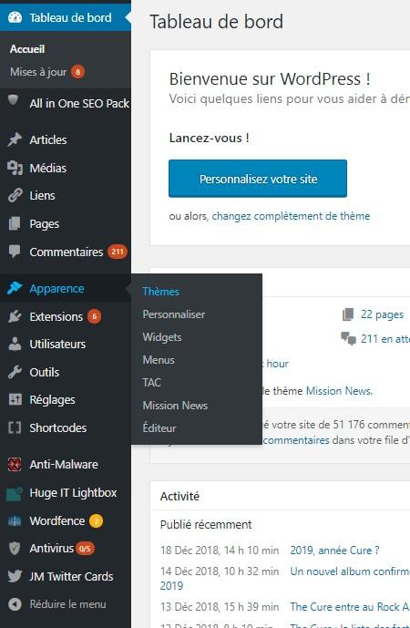 Tableau de bord blog WordPress apparence et thèmes