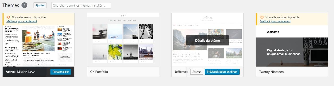 Thèmes présents dans le tableau de bord WordPress