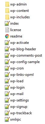 Les dossiers et fichiers contenus dans le ZIP de WordPress