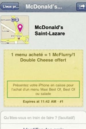 Exemple de Deals Facebook avec McDonald's qui offre un double cheese