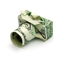 Appareil photo en billets dollars
