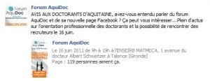 Message d'Aquidoc sur Facebook