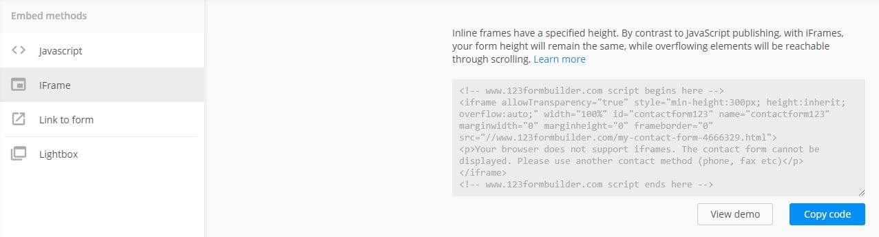 Créer et intégrer un formulaire sur son blog - embed code