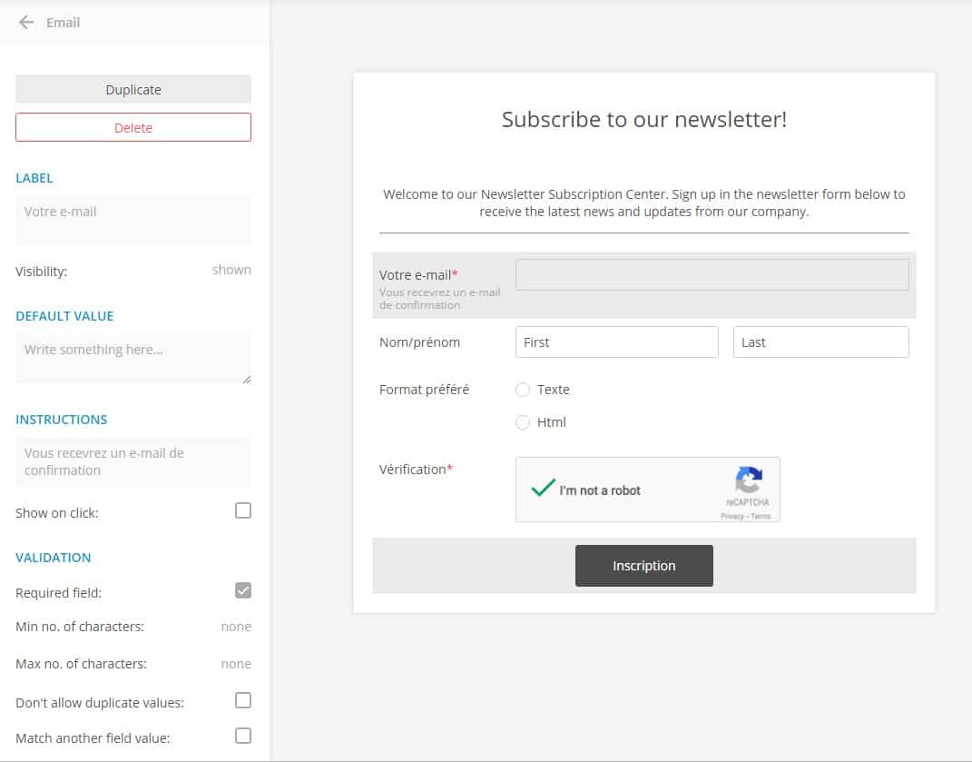 Créer et intégrer un formulaire sur son blog - personnalisation formulaire newsletter