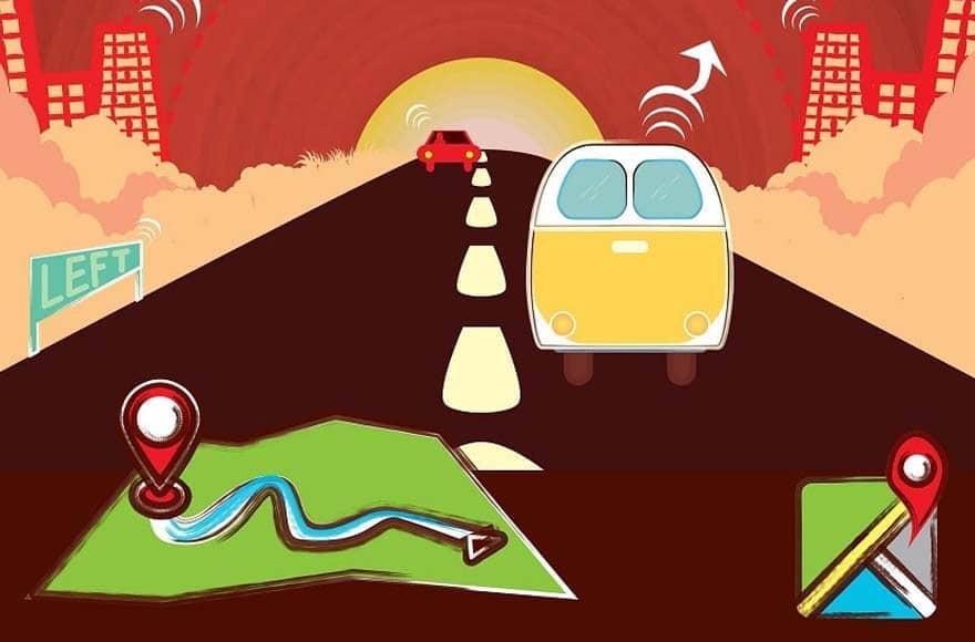 Van sur une route avec gps et une carte routière