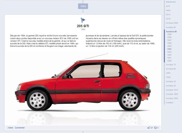 Les anciens moments-clés de la page Facebook Peugeot