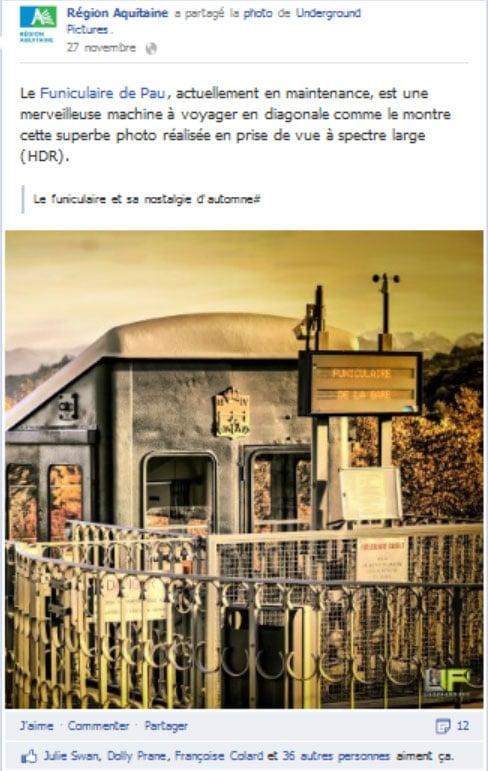 Post sur le funiculaire de Pau publié sur la page Facebook de la région Aquitaine