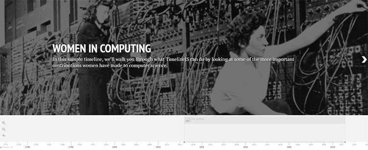 "Timeline, exemple d'une chronologie ""Women in Computing"""