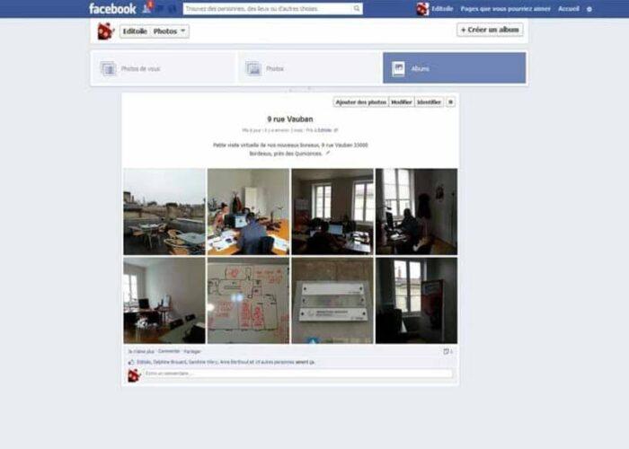 Un album photo Facebook sur l'agence Editoile