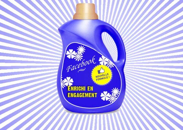 bouteille de lessive à l'effigie de Facebook