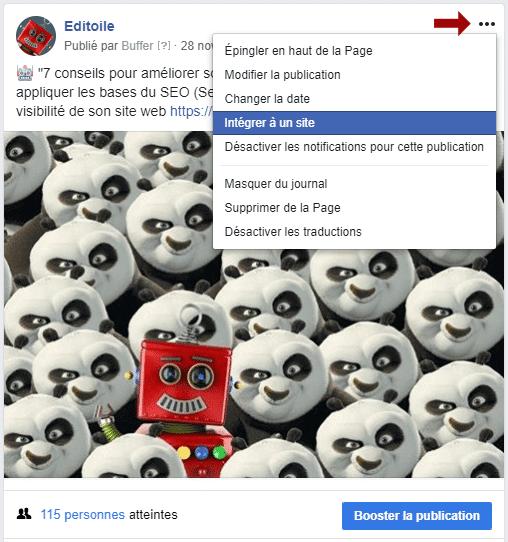 Intégrer des statuts sociaux sur un site Web - Facebook