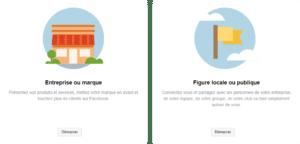 """Facebook a décidé de simplifier la catégorisation de ses pages en ne conservant que 2 catégories : """"Entreprise ou marque"""" et """"Figure locale ou publique"""""""
