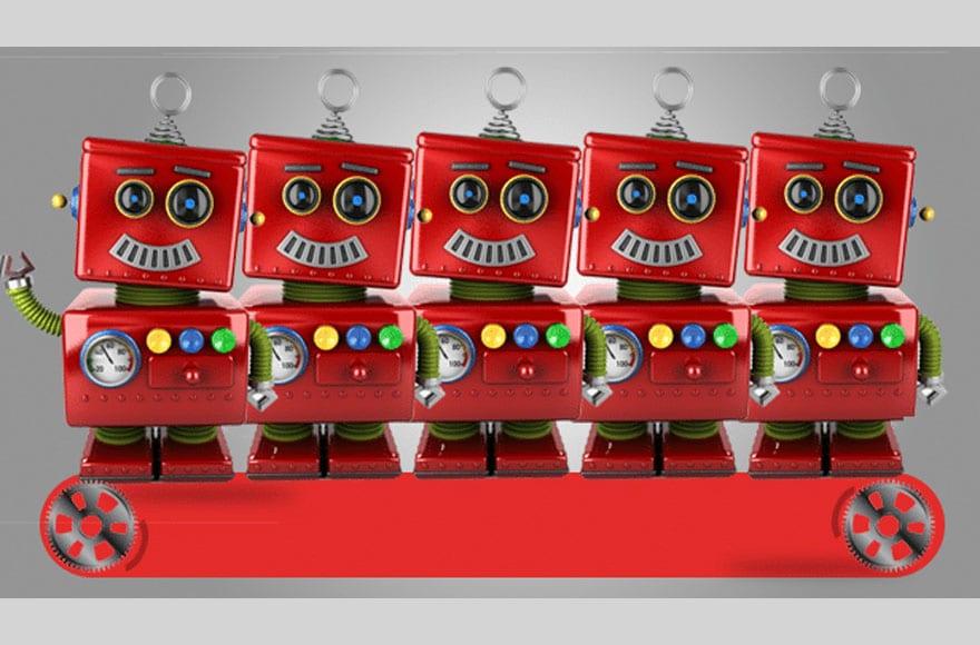 5 anciens robots d'editoile sont alignés