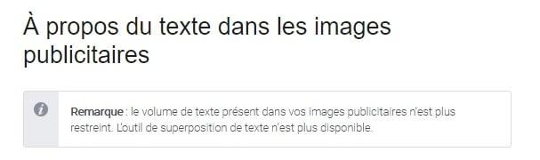 capture d'écran page aide Facebook texte sur les images