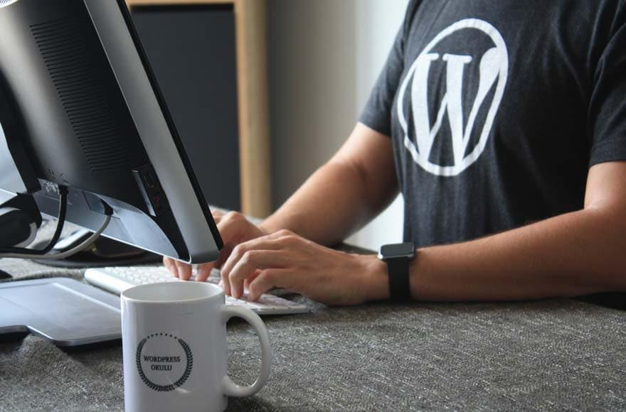 Une personne travaille sur Wordpress