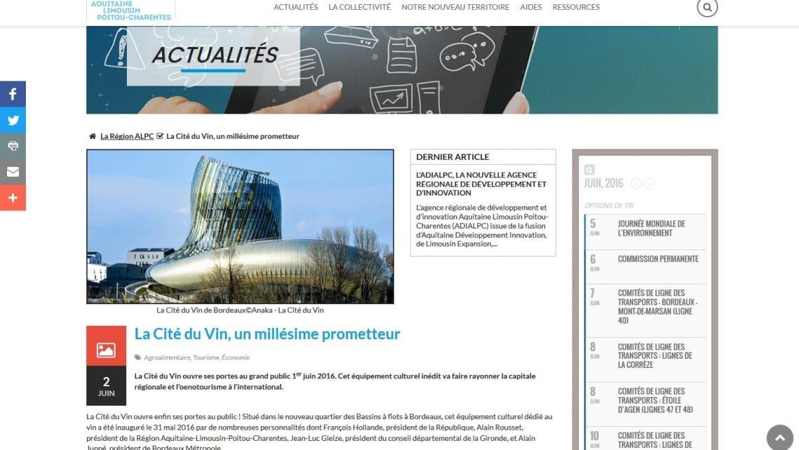 Actualité sur la Cité du Vin rédigée pour la Région ALPC