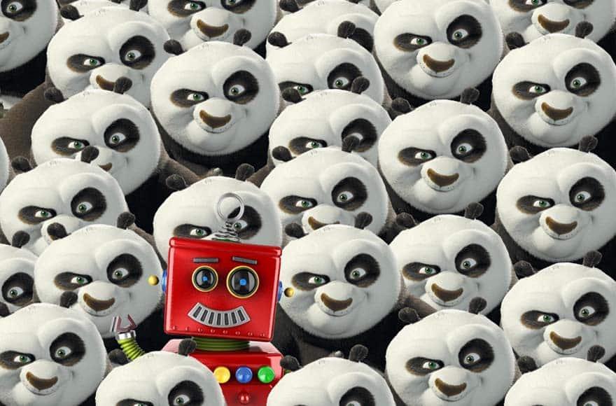 Le robot d'éditoile avec des pandas