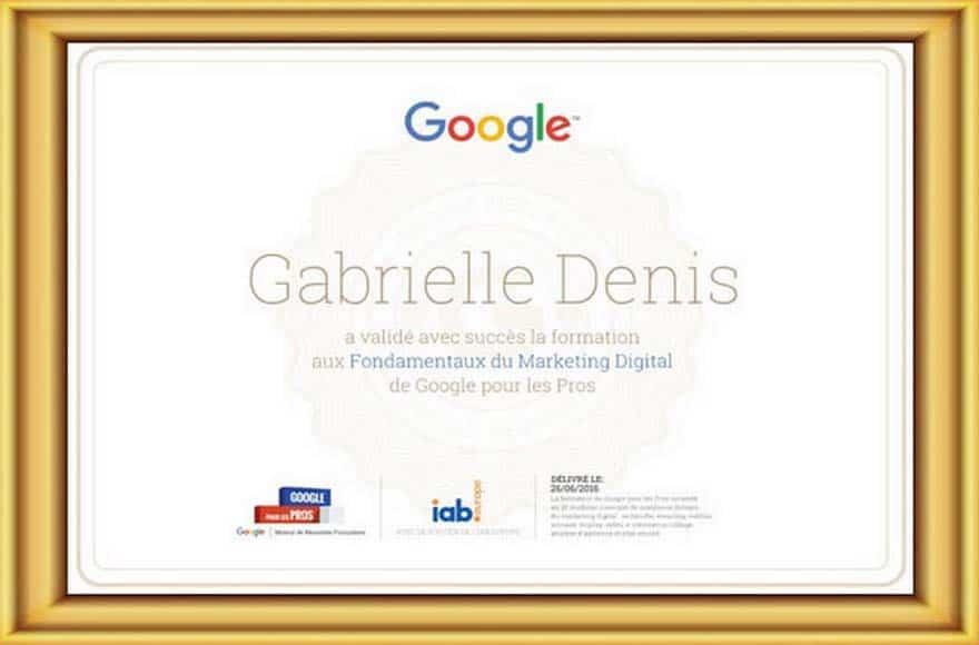 Certification Google de Gabrielle Denis, directrice d'Editoile