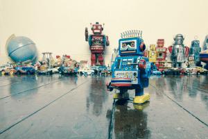 groupe de robots vintage