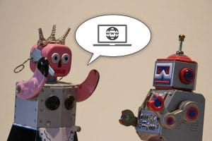 Deux jouets robots vintage qui parlent Web