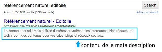 Exemple de balise meta description optimisée SEO