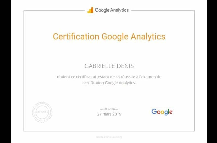 certification Google Analytics de Gabrielle Denis