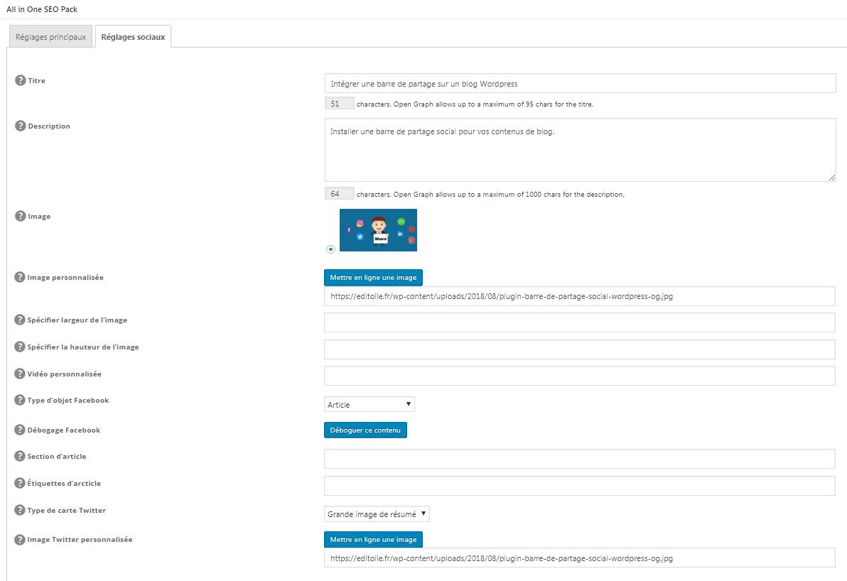 Les réglages sociaux de All In One SEO Pack donne accès au remplissage des balises Open Graph.