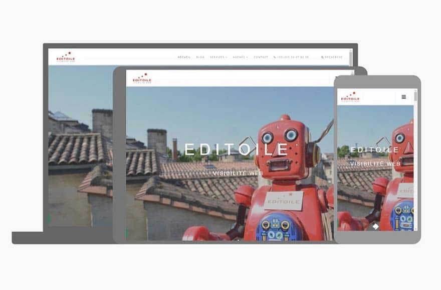 Site web Editoile sur différents écrans via Resizer