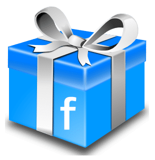 Cadeau bleu avec un logo Facebook