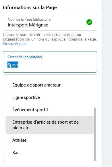 exemple catégorie page magasin de sport