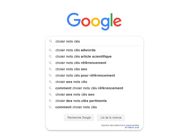L'auto-complétion de Google Suggest