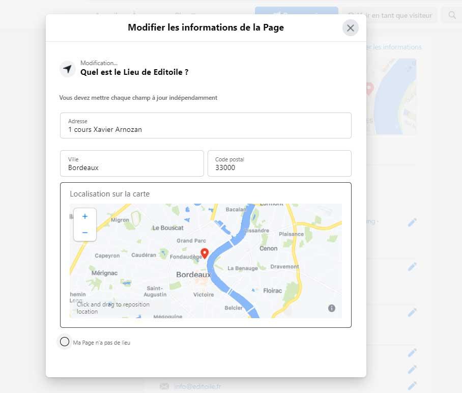 capture d'écran de la map dans la page Facebook d'Editoile