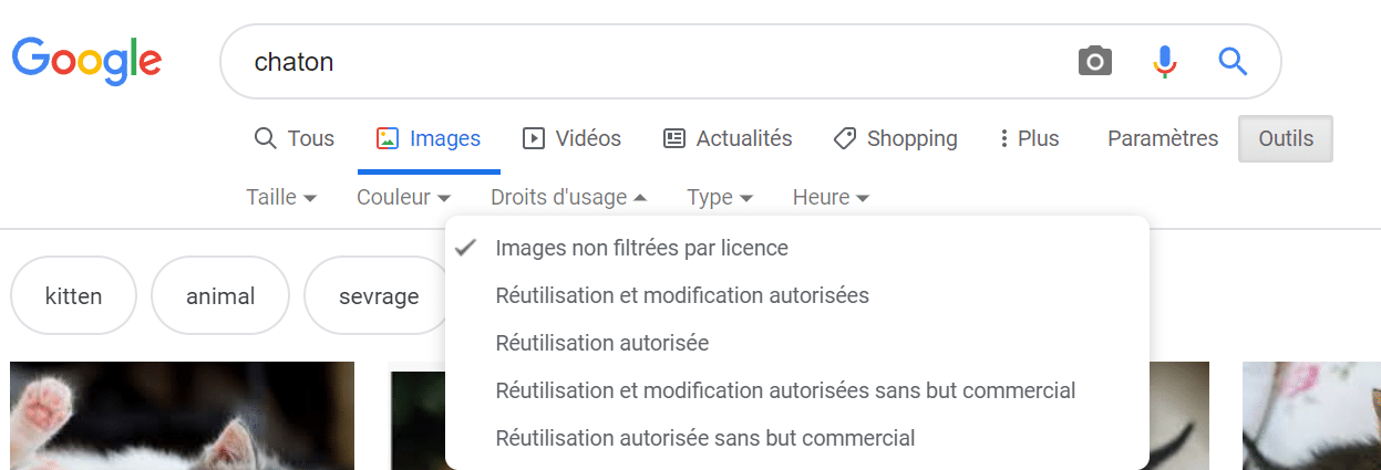 capture écran Google Images droits d'usage