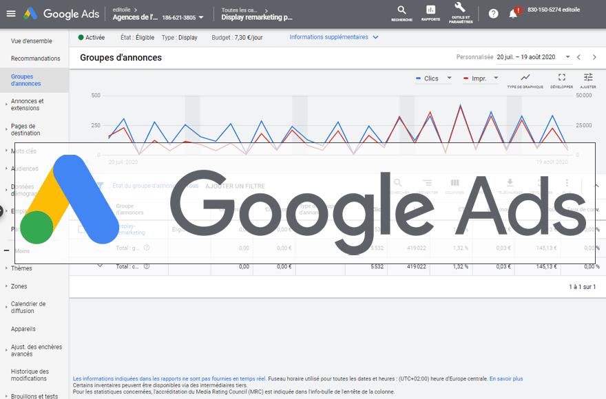 Tableau de bord d'une campagne Google Ads