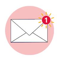 nouveau message représentée par une enveloppe et une notification +1