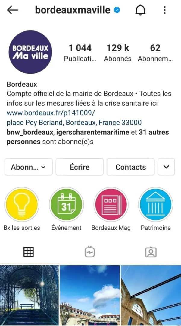 capture écran compte Instagram ville de Bordeaux