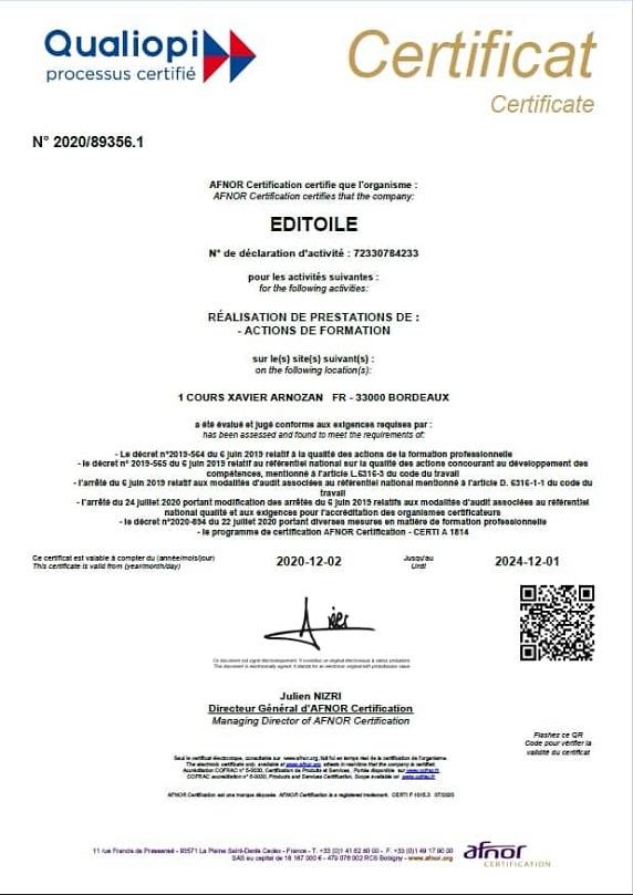 certificat Qualiopi délivré par AFNOR à Editoile