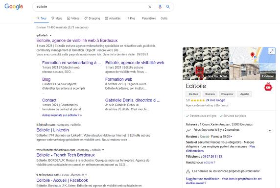 Capture d'écran résultats Google avec une fiche Google My Business en sidebar droite