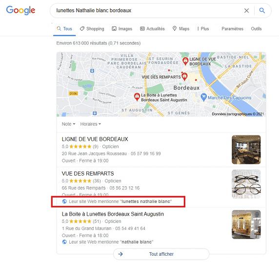 capture d'écran pack local Google My Business