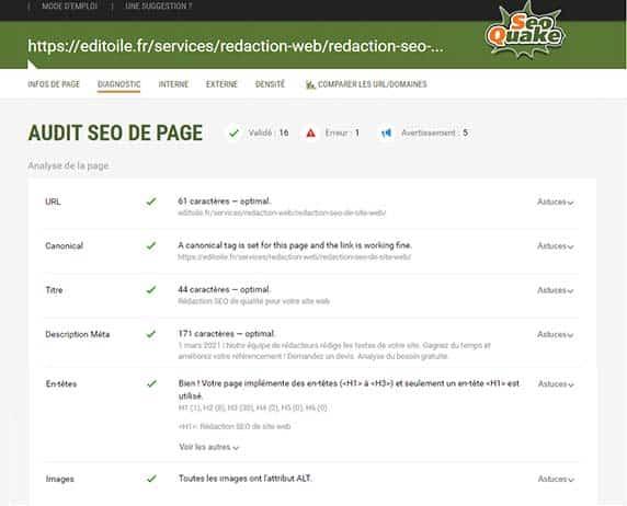 capture de l'audit SEO de site pour une page d'editoile.fr