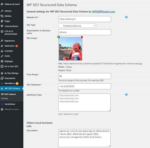 capture du back office WordPress du plugin WP SEO schema
