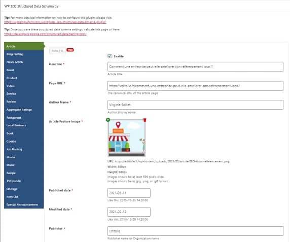 Aperçu back office du plugin WP SEO Structured Data Schema sur le balisage d'un article de blog