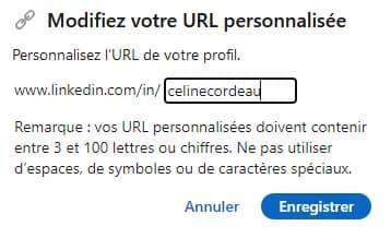 section pour modifier l'url de son profil linkedin