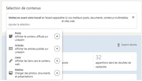 exemple de section pour ajouter du contenu multimédia sur Linkedin