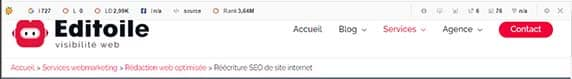 aperçu de la SEObar de SeoQuake dans le navigateur Chrome