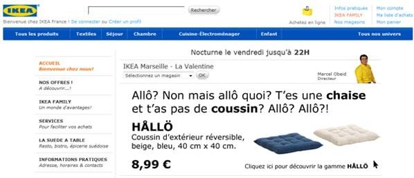extrait du site Ikea avec le buzz Nabila