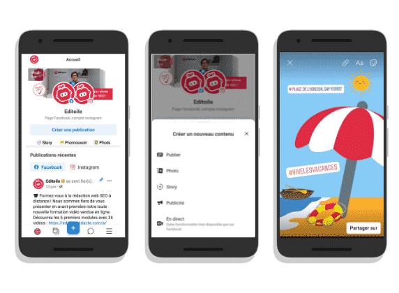 captures d'écran dans un smartphone de l'appli Business Suite